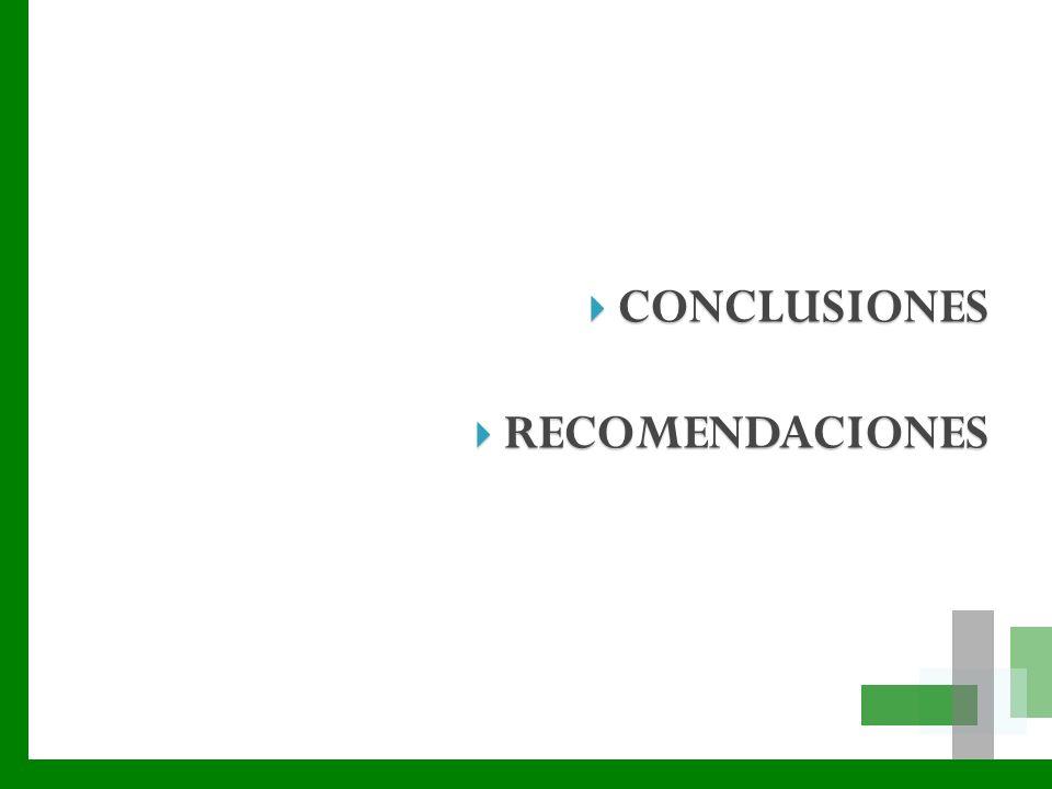 CONCLUSIONES CONCLUSIONES RECOMENDACIONES RECOMENDACIONES