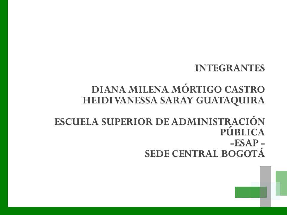 INTEGRANTES DIANA MILENA MÓRTIGO CASTRO HEIDI VANESSA SARAY GUATAQUIRA ESCUELA SUPERIOR DE ADMINISTRACIÓN PÚBLICA -ESAP - SEDE CENTRAL BOGOTÁ
