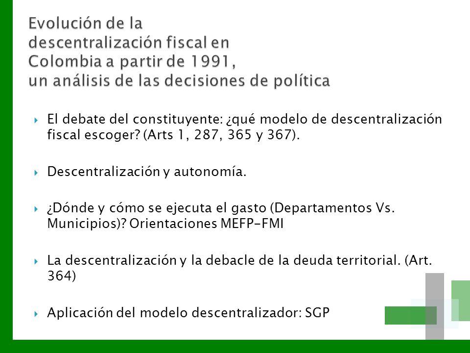 El debate del constituyente: ¿qué modelo de descentralización fiscal escoger? (Arts 1, 287, 365 y 367). Descentralización y autonomía. ¿Dónde y cómo s