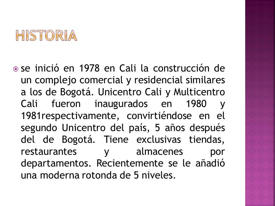 se inició en 1978 en Cali la construcción de un complejo comercial y residencial similares a los de Bogotá. Unicentro Cali y Multicentro Cali fueron i