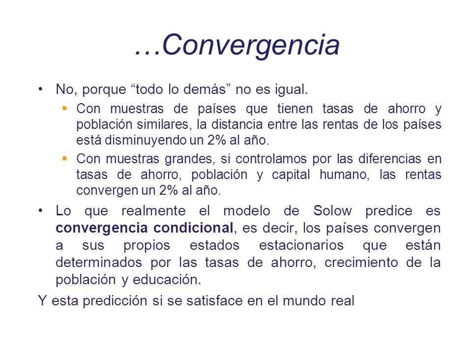…Convergencia No, porque todo lo demás no es igual. Con muestras de países que tienen tasas de ahorro y población similares, la distancia entre las re