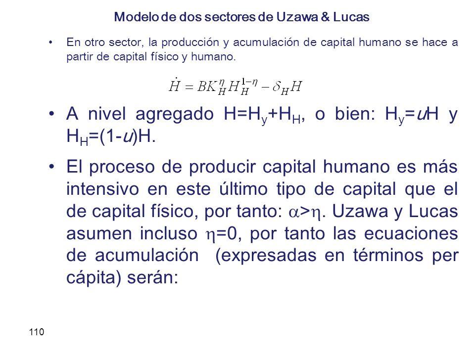 110 Modelo de dos sectores de Uzawa & Lucas En otro sector, la producción y acumulación de capital humano se hace a partir de capital físico y humano.