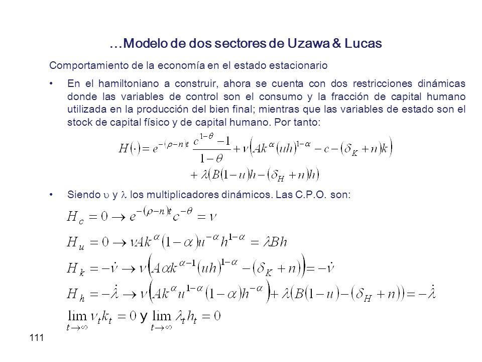 111 …Modelo de dos sectores de Uzawa & Lucas Comportamiento de la economía en el estado estacionario En el hamiltoniano a construir, ahora se cuenta c