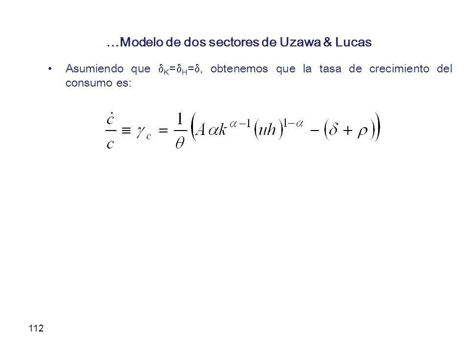 112 …Modelo de dos sectores de Uzawa & Lucas Asumiendo que K = H =, obtenemos que la tasa de crecimiento del consumo es: