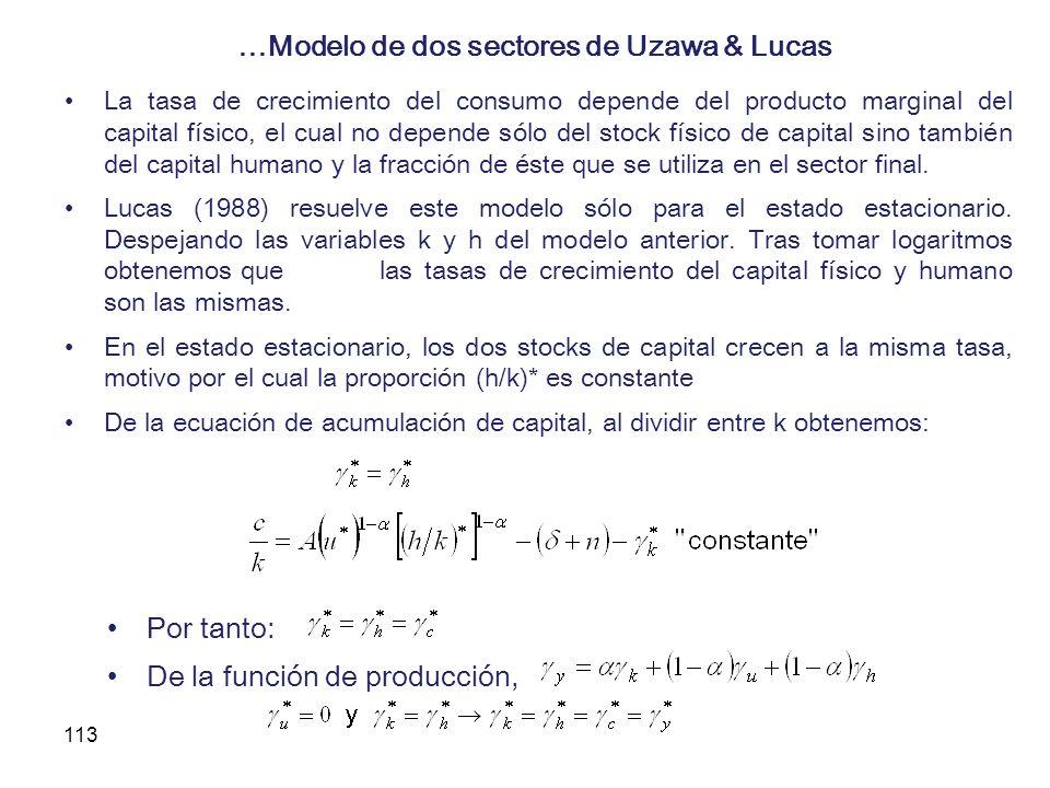 113 …Modelo de dos sectores de Uzawa & Lucas La tasa de crecimiento del consumo depende del producto marginal del capital físico, el cual no depende s