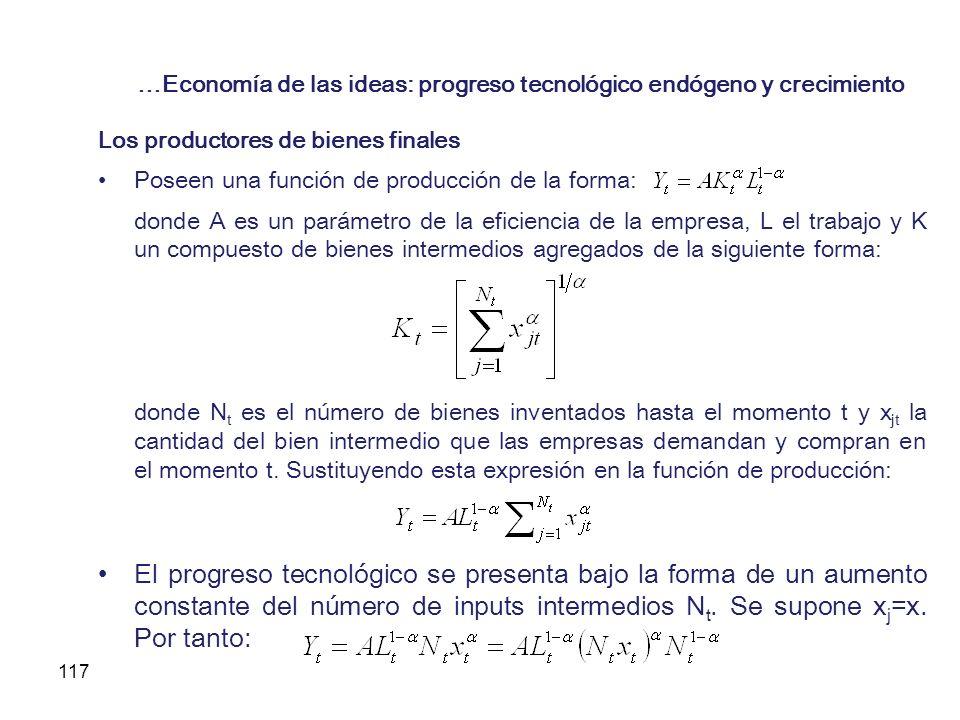 117 …Economía de las ideas: progreso tecnológico endógeno y crecimiento Los productores de bienes finales Poseen una función de producción de la forma