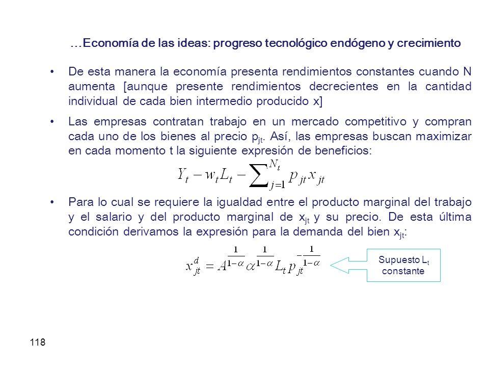118 …Economía de las ideas: progreso tecnológico endógeno y crecimiento De esta manera la economía presenta rendimientos constantes cuando N aumenta [