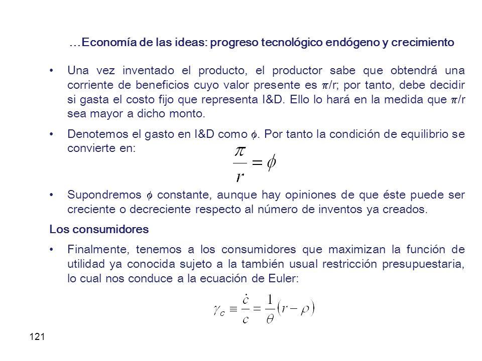 121 …Economía de las ideas: progreso tecnológico endógeno y crecimiento Una vez inventado el producto, el productor sabe que obtendrá una corriente de