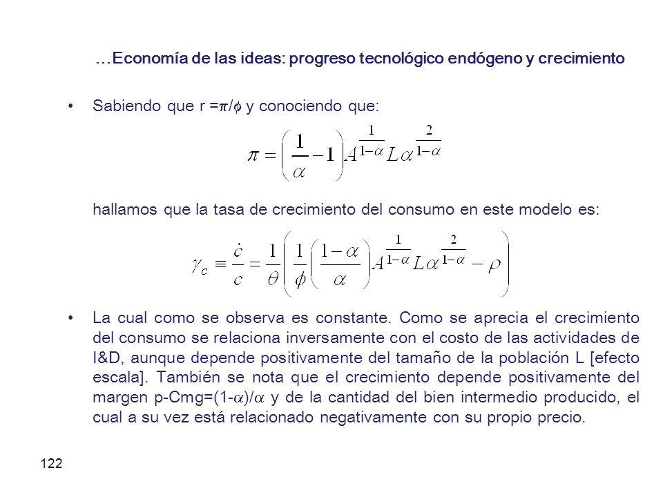 122 …Economía de las ideas: progreso tecnológico endógeno y crecimiento Sabiendo que r = / y conociendo que: hallamos que la tasa de crecimiento del c