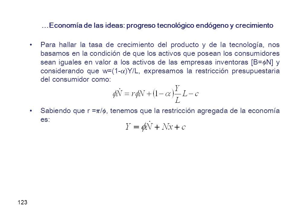 123 …Economía de las ideas: progreso tecnológico endógeno y crecimiento Para hallar la tasa de crecimiento del producto y de la tecnología, nos basamo