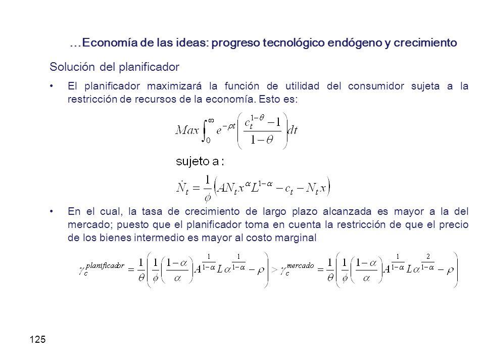 125 …Economía de las ideas: progreso tecnológico endógeno y crecimiento Solución del planificador El planificador maximizará la función de utilidad de
