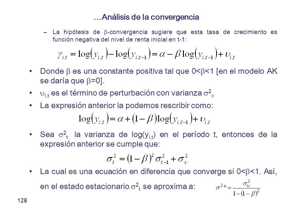 128 …Análisis de la convergencia –La hipótesis de -convergencia sugiere que esta tasa de crecimiento es función negativa del nivel de renta inicial en