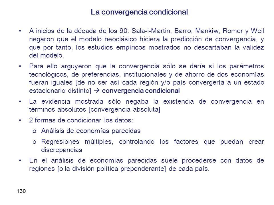 130 La convergencia condicional A inicios de la década de los 90: Sala-i-Martin, Barro, Mankiw, Romer y Weil negaron que el modelo neoclásico hiciera