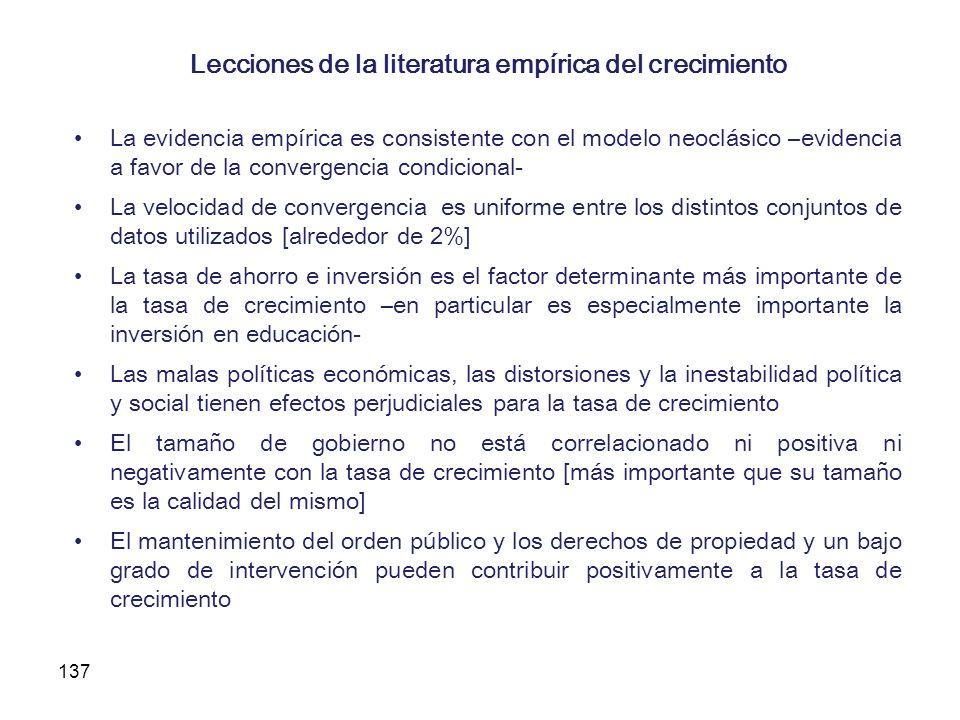 137 Lecciones de la literatura empírica del crecimiento La evidencia empírica es consistente con el modelo neoclásico –evidencia a favor de la converg