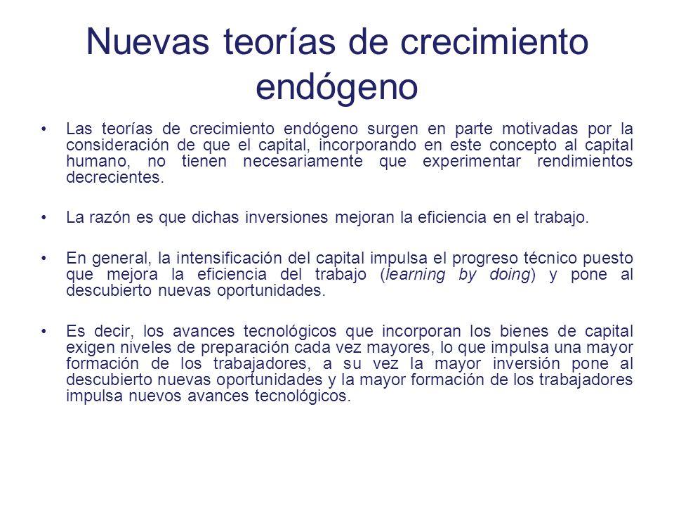 Nuevas teorías de crecimiento endógeno Las teorías de crecimiento endógeno surgen en parte motivadas por la consideración de que el capital, incorpora