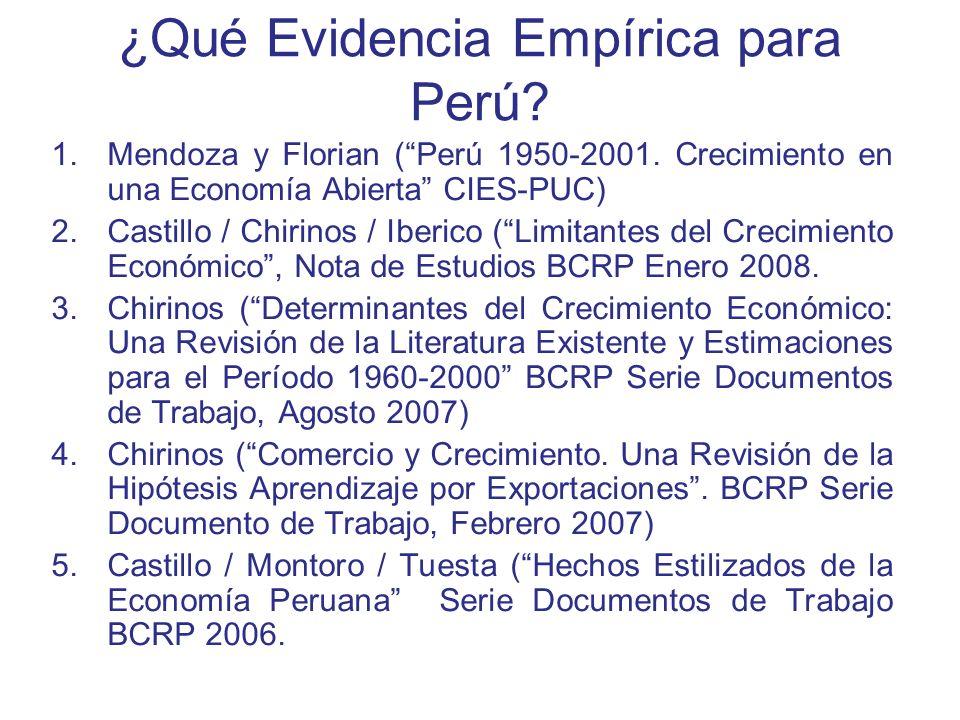 ¿Qué Evidencia Empírica para Perú? 1.Mendoza y Florian (Perú 1950-2001. Crecimiento en una Economía Abierta CIES-PUC) 2.Castillo / Chirinos / Iberico