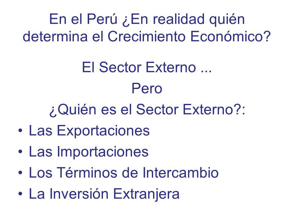 En el Perú ¿En realidad quién determina el Crecimiento Económico? El Sector Externo... Pero ¿Quién es el Sector Externo?: Las Exportaciones Las Import