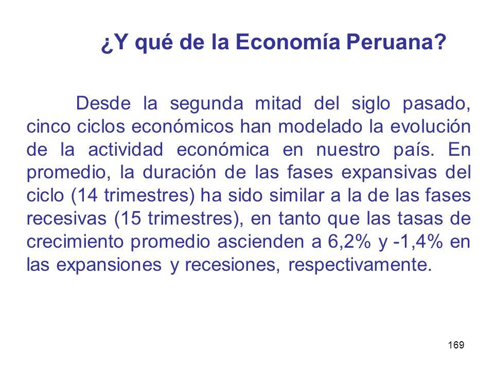 169 ¿Y qué de la Economía Peruana? Desde la segunda mitad del siglo pasado, cinco ciclos económicos han modelado la evolución de la actividad económic