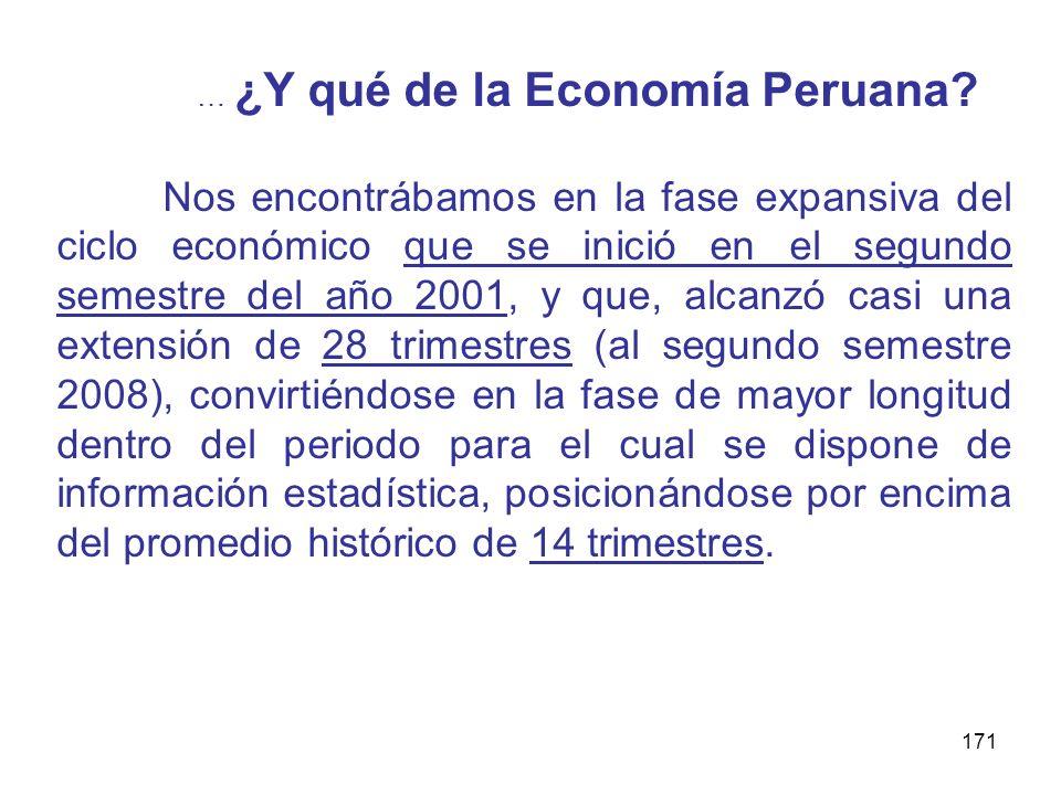 171 … ¿Y qué de la Economía Peruana? Nos encontrábamos en la fase expansiva del ciclo económico que se inició en el segundo semestre del año 2001, y q