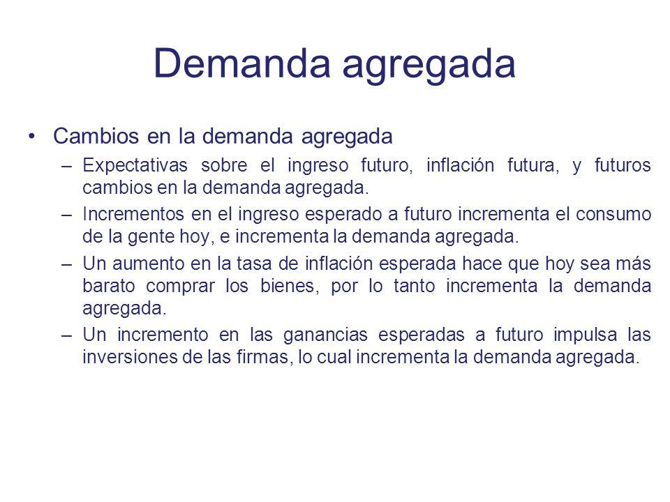Demanda agregada Cambios en la demanda agregada –Expectativas sobre el ingreso futuro, inflación futura, y futuros cambios en la demanda agregada. –In
