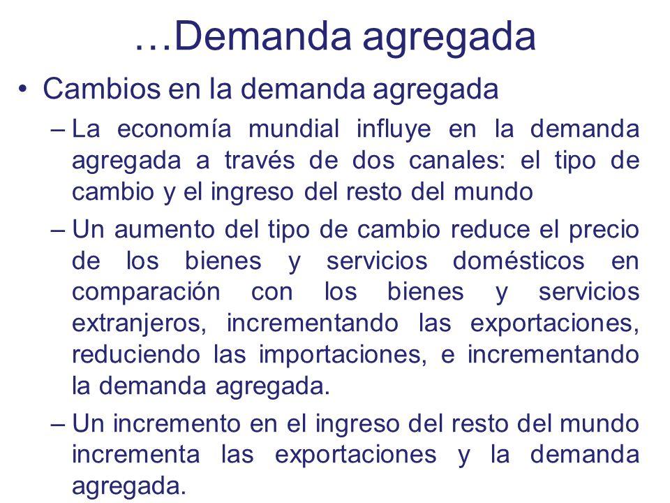 …Demanda agregada Cambios en la demanda agregada –La economía mundial influye en la demanda agregada a través de dos canales: el tipo de cambio y el i