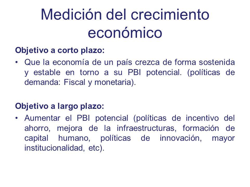 Medición del crecimiento económico Objetivo a corto plazo: Que la economía de un país crezca de forma sostenida y estable en torno a su PBI potencial.
