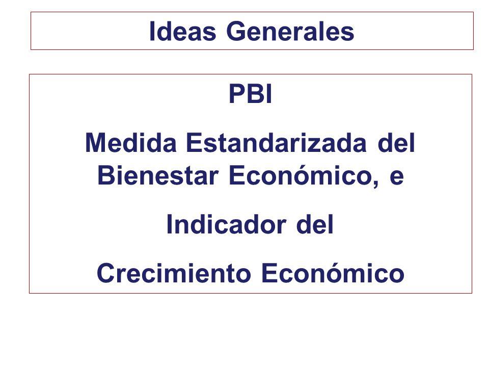 PBI Medida Estandarizada del Bienestar Económico, e Indicador del Crecimiento Económico Ideas Generales