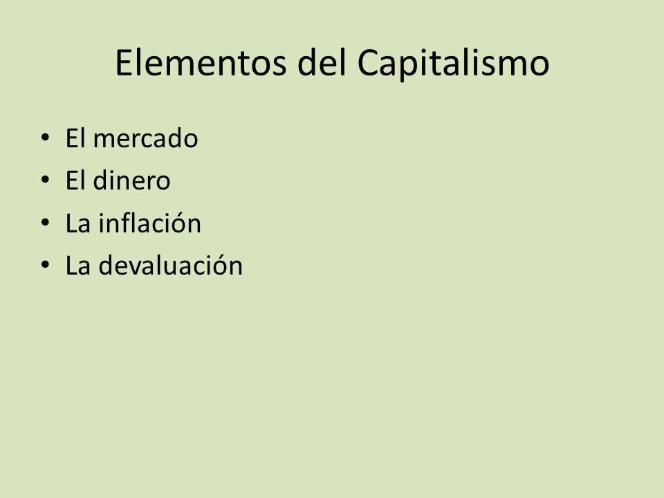 Elementos del Capitalismo El mercado El dinero La inflación La devaluación