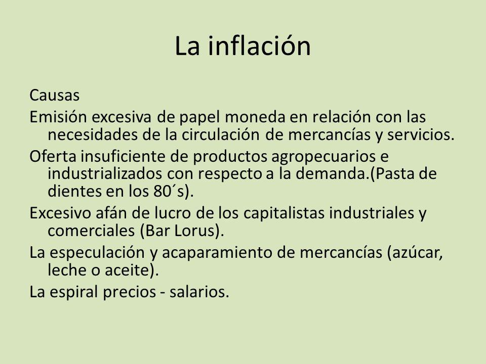 La inflación Causas Emisión excesiva de papel moneda en relación con las necesidades de la circulación de mercancías y servicios. Oferta insuficiente