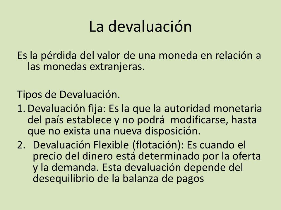 La devaluación Es la pérdida del valor de una moneda en relación a las monedas extranjeras. Tipos de Devaluación. 1.Devaluación fija: Es la que la aut