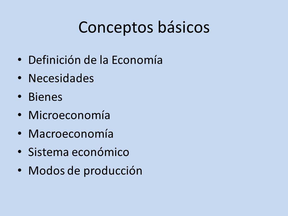 Conceptos básicos Definición de la Economía Necesidades Bienes Microeconomía Macroeconomía Sistema económico Modos de producción
