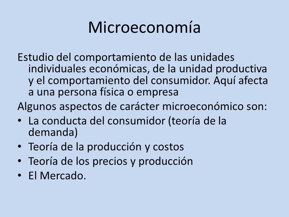 Microeconomía Estudio del comportamiento de las unidades individuales económicas, de la unidad productiva y el comportamiento del consumidor. Aquí afe