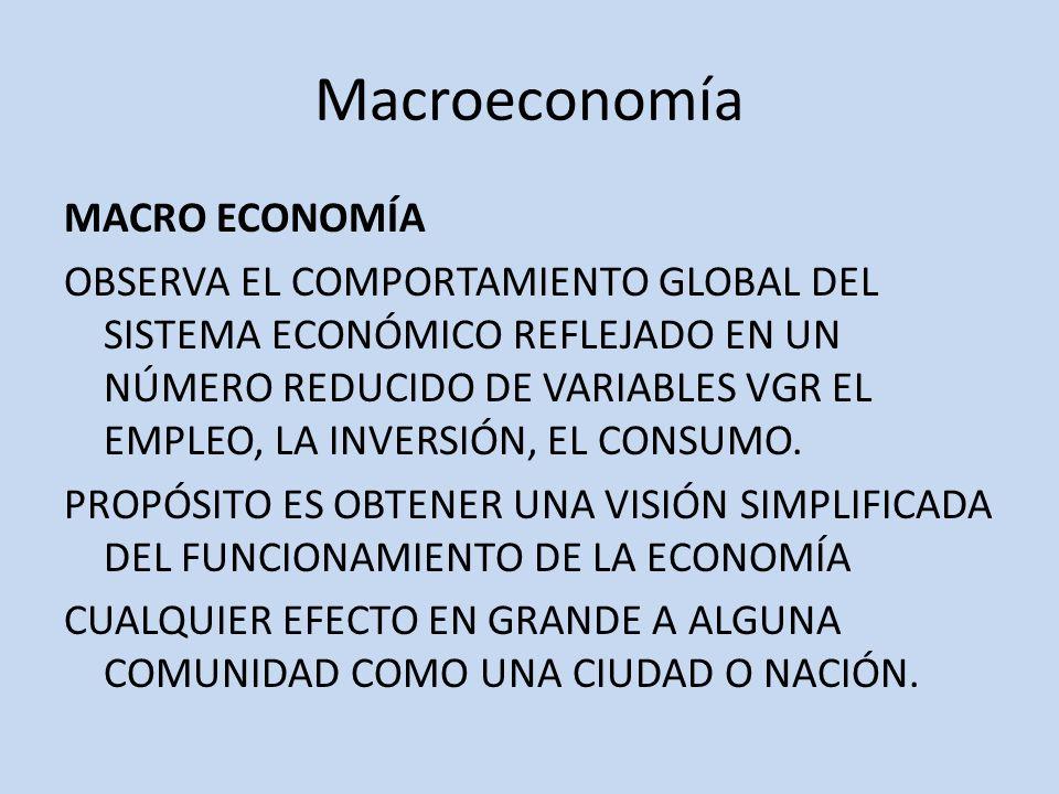 Macroeconomía MACRO ECONOMÍA OBSERVA EL COMPORTAMIENTO GLOBAL DEL SISTEMA ECONÓMICO REFLEJADO EN UN NÚMERO REDUCIDO DE VARIABLES VGR EL EMPLEO, LA INV