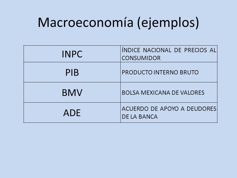 Macroeconomía (ejemplos) INPC ÍNDICE NACIONAL DE PRECIOS AL CONSUMIDOR PIB PRODUCTO INTERNO BRUTO BMV BOLSA MEXICANA DE VALORES ADE ACUERDO DE APOYO A
