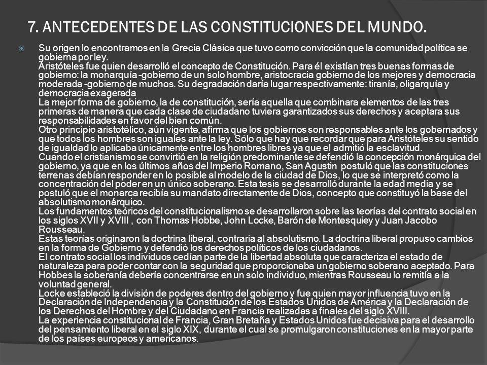 7. ANTECEDENTES DE LAS CONSTITUCIONES DEL MUNDO. Su origen lo encontramos en la Grecia Clásica que tuvo como convicción que la comunidad política se g