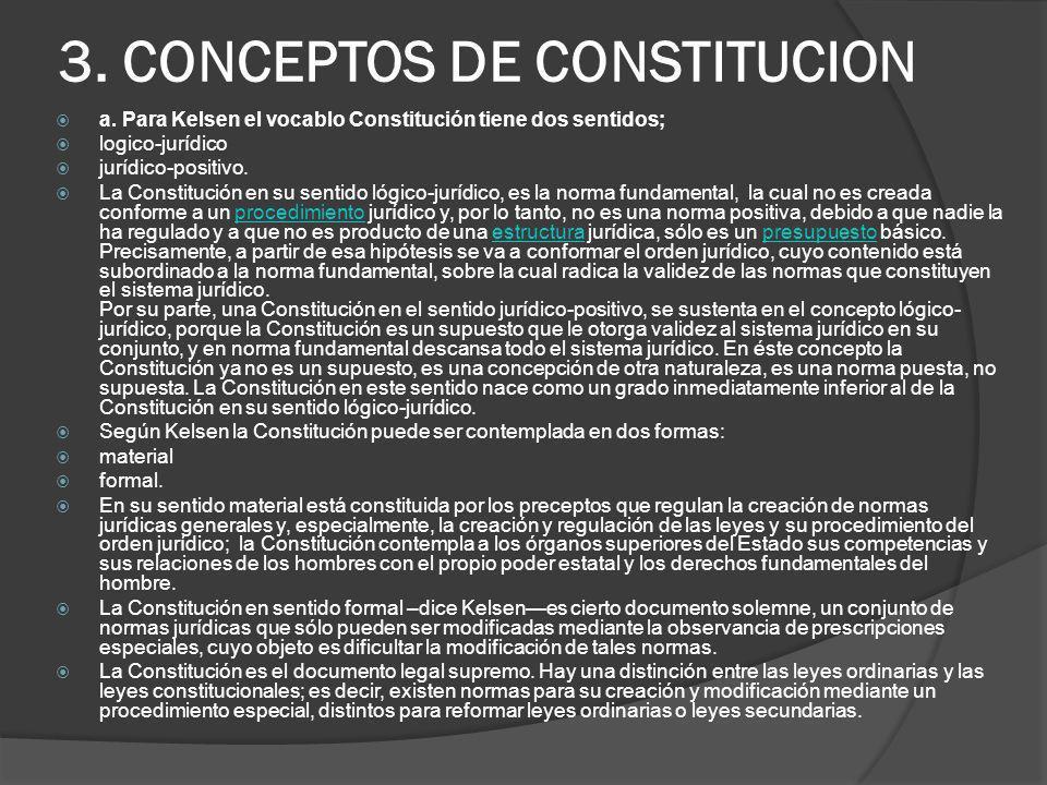 3. CONCEPTOS DE CONSTITUCION a. Para Kelsen el vocablo Constitución tiene dos sentidos; logico-jurídico jurídico-positivo. La Constitución en su senti