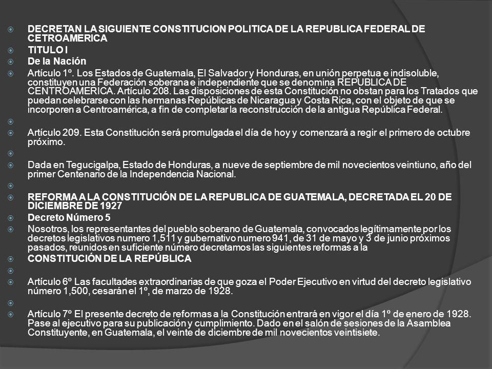 DECRETAN LA SIGUIENTE CONSTITUCION POLITICA DE LA REPUBLICA FEDERAL DE CETROAMERICA TITULO I De la Nación Artículo 1º. Los Estados de Guatemala, El Sa