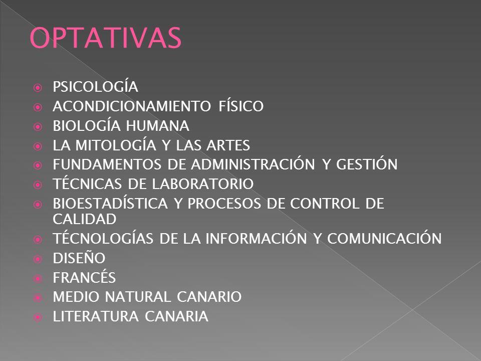PSICOLOGÍA ACONDICIONAMIENTO FÍSICO BIOLOGÍA HUMANA LA MITOLOGÍA Y LAS ARTES FUNDAMENTOS DE ADMINISTRACIÓN Y GESTIÓN TÉCNICAS DE LABORATORIO BIOESTADÍ