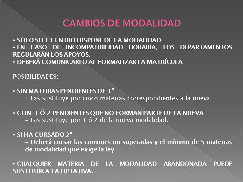 CAMBIOS DE MODALIDAD SÓLO SI EL CENTRO DISPONE DE LA MODALIDAD EN CASO DE INCOMPATIBILIDAD HORARIA, LOS DEPARTAMENTOS REGULARÁN LOS APOYOS. DEBERÁ COM