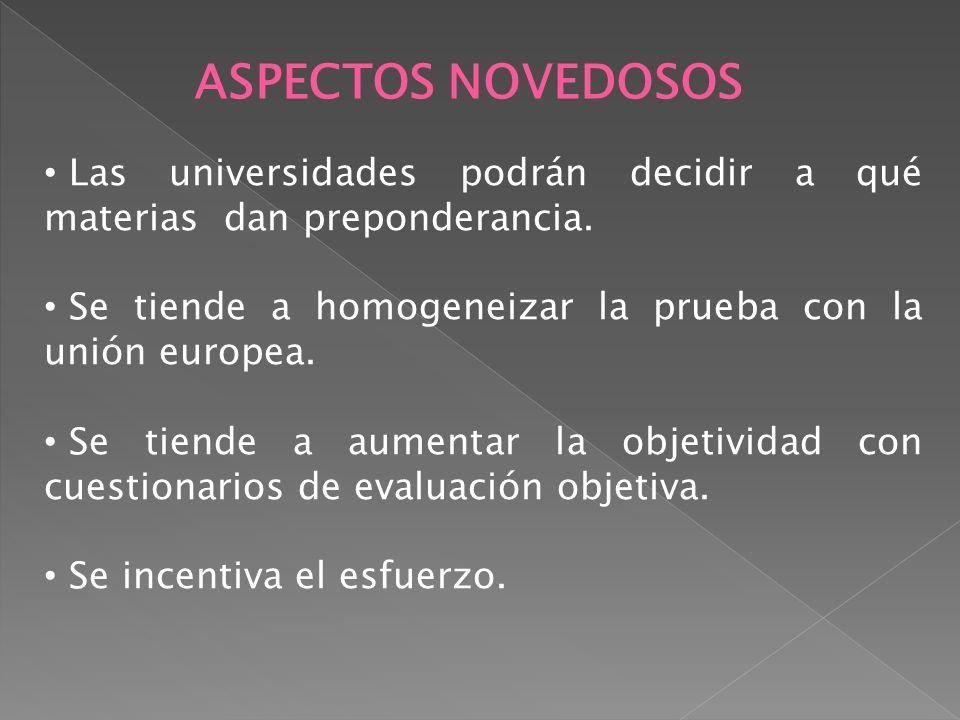 ASPECTOS NOVEDOSOS Las universidades podrán decidir a qué materias dan preponderancia. Se tiende a homogeneizar la prueba con la unión europea. Se tie