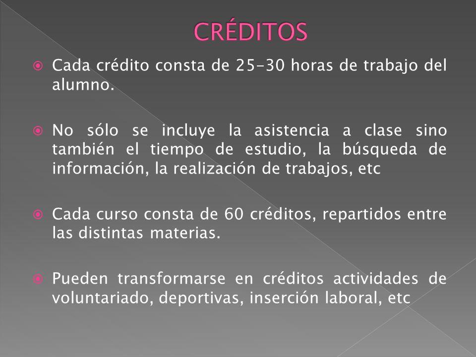 Cada crédito consta de 25-30 horas de trabajo del alumno. No sólo se incluye la asistencia a clase sino también el tiempo de estudio, la búsqueda de i