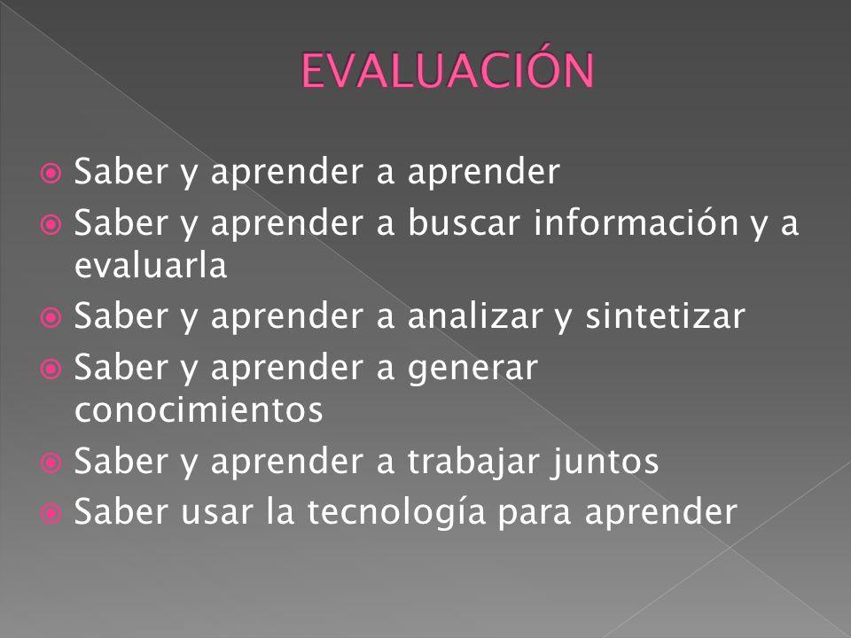 Saber y aprender a aprender Saber y aprender a buscar información y a evaluarla Saber y aprender a analizar y sintetizar Saber y aprender a generar co