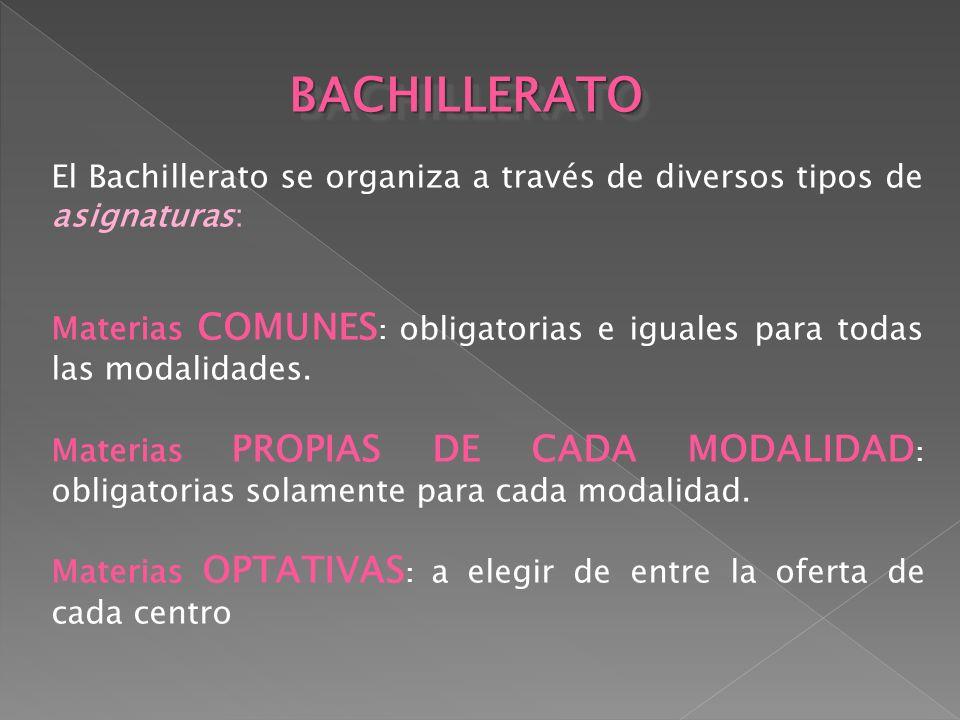 El Bachillerato se organiza a través de diversos tipos de asignaturas: Materias COMUNES : obligatorias e iguales para todas las modalidades. Materias