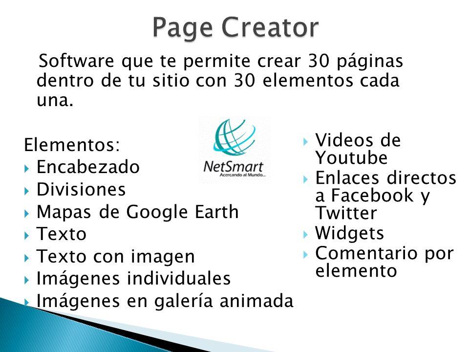 Software que te permite crear 30 páginas dentro de tu sitio con 30 elementos cada una. Elementos: Encabezado Divisiones Mapas de Google Earth Texto Te