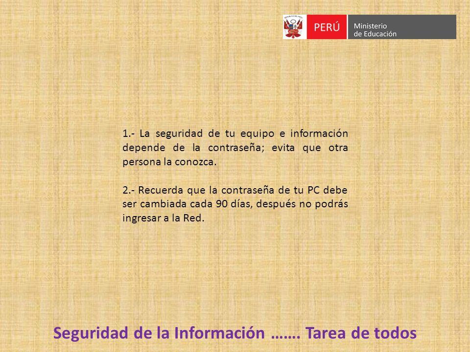 Seguridad de la Información ……. Tarea de todos 1.- La seguridad de tu equipo e información depende de la contraseña; evita que otra persona la conozca
