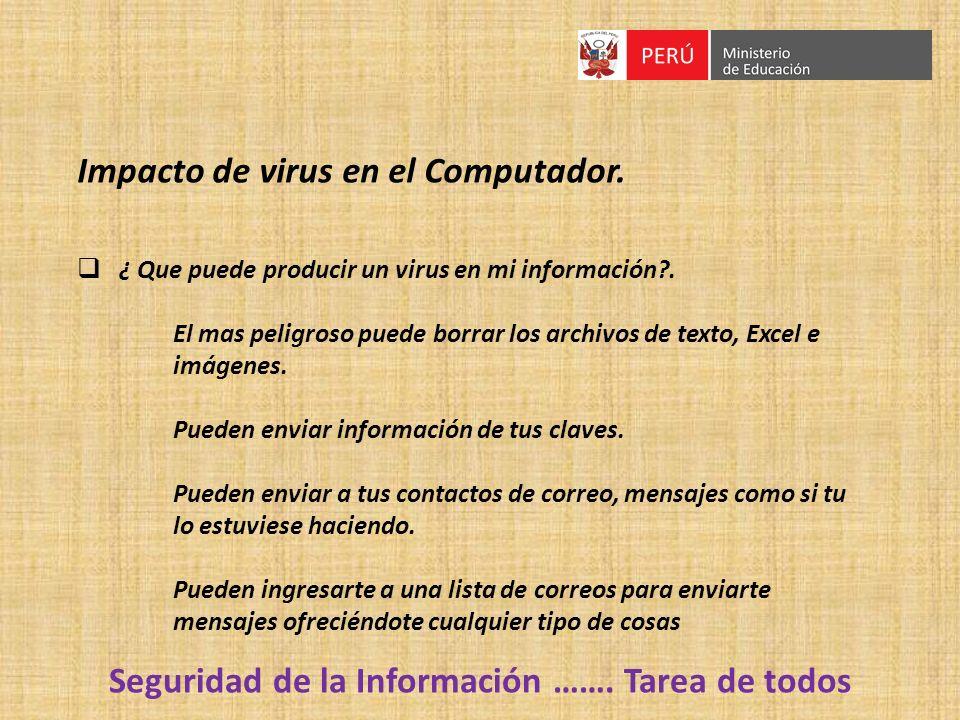 Impacto de virus en el Computador. ¿ Que puede producir un virus en mi información?. El mas peligroso puede borrar los archivos de texto, Excel e imág