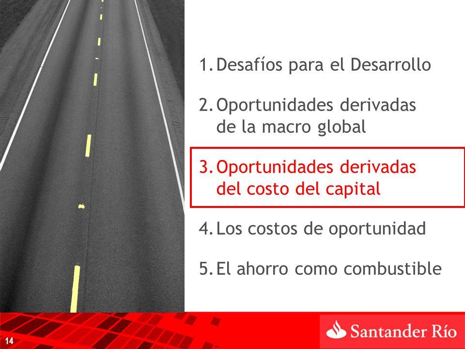 1.Desafíos para el Desarrollo 2.Oportunidades derivadas de la macro global 3.Oportunidades derivadas del costo del capital 4.Los costos de oportunidad 5.El ahorro como combustible 14