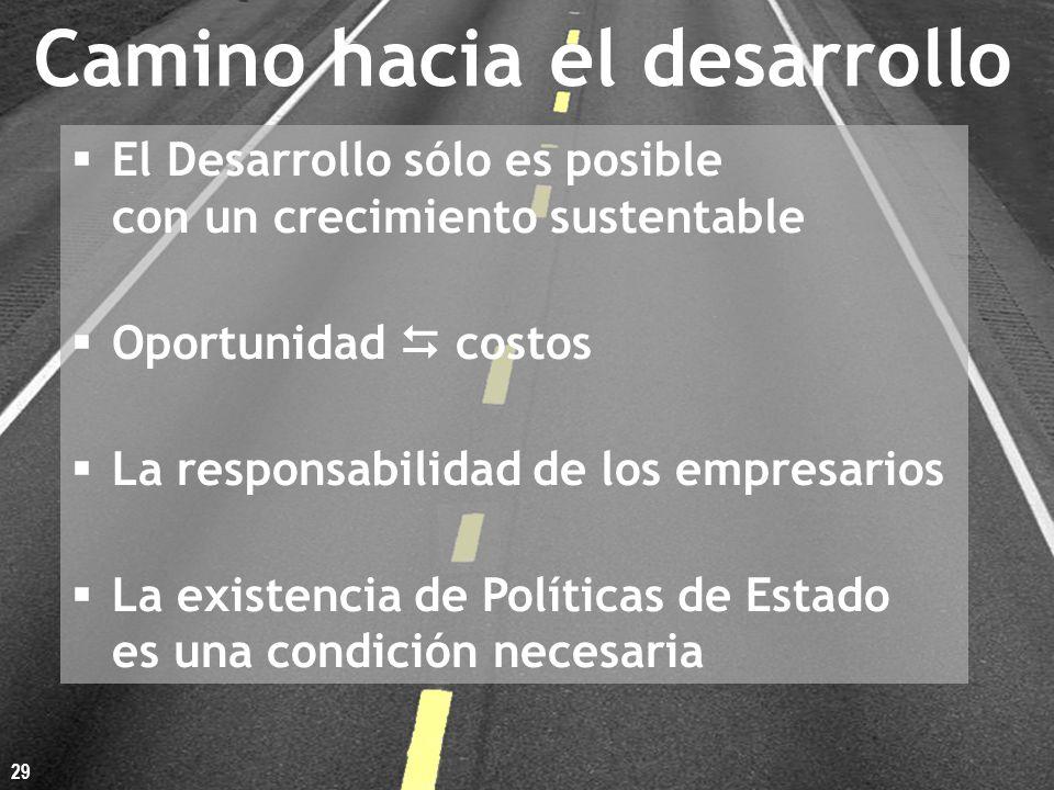 Camino hacia el desarrollo El Desarrollo sólo es posible con un crecimiento sustentable Oportunidad costos La responsabilidad de los empresarios La existencia de Políticas de Estado es una condición necesaria 29