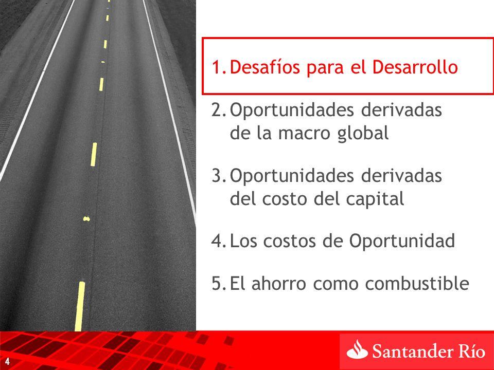 1.Desafíos para el Desarrollo 2.Oportunidades derivadas de la macro global 3.Oportunidades derivadas del costo del capital 4.Los costos de Oportunidad 5.El ahorro como combustible 4