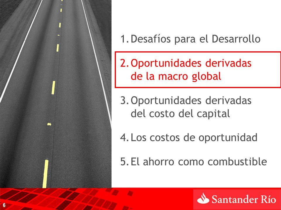 1.Desafíos para el Desarrollo 2.Oportunidades derivadas de la macro global 3.Oportunidades derivadas del costo del capital 4.Los costos de oportunidad 5.El ahorro como combustible 6